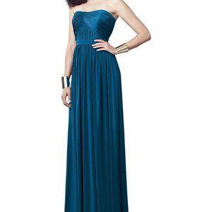 Dessy Estate Blue Strapless Maxi Bridesmaids Dress